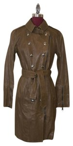 Burberry Leather Epaulettes Asymmetrical Trench Coat