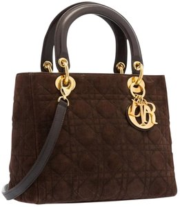 Dior Christian Suede Leather Tote in Brown