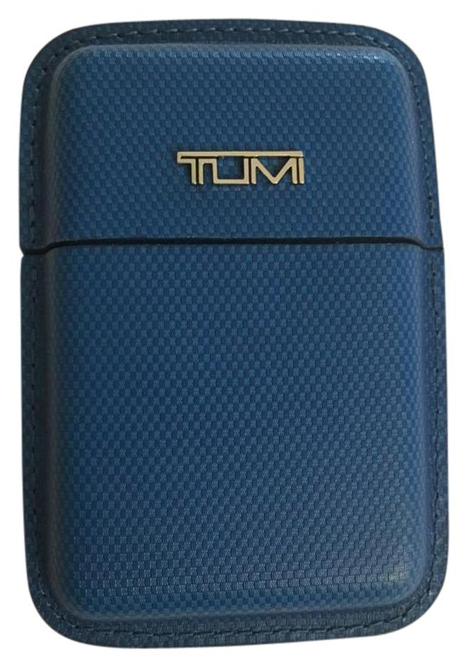 Tumi Blue Structured Leather Business Card Case Tech Accessory - Tradesy