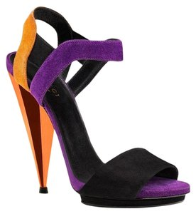 Gucci Liberty Colorblock Suede Black Orange Purple/1068 Platforms