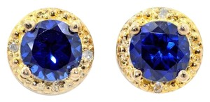 14Kt Yellow Gold Blue Sapphire & Diamond Round Stud Earrings