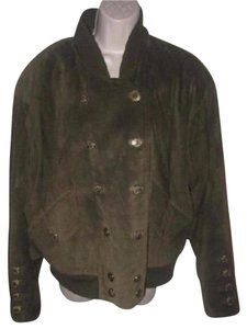 Escada Bomber Style Outerlayer Warm Lining Mint Vintage Double-breasted Military Jacket
