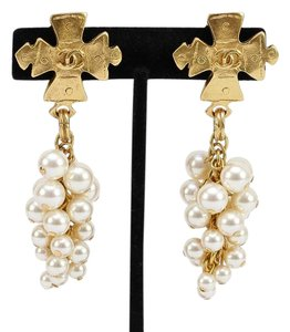 Chanel Chanel Vintage Gold Logo Faux Pearl Cluster Clip On Drop Earrings