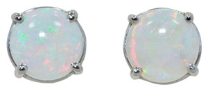 14kt White gold Natural Opal Round Stud Earrings
