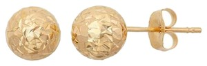 14Kt Yellow Gold Diamond Cut 5mm Ball Stud Earrings