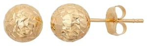 14Kt Yellow Gold Diamond Cut 7mm Ball Stud Earrings