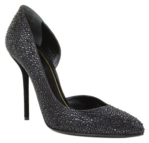 Gucci 309868 Heel Crystal Satin Black Pumps