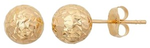 Other 14Kt Yellow Gold Diamond Cut 9mm Ball Stud Earrings