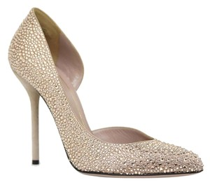 Gucci 343531 Heel Satin Crystals Nude Pumps