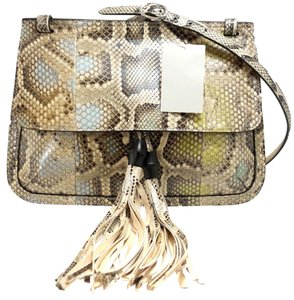 Gucci Python Flap Bamboo Shoulder Bag
