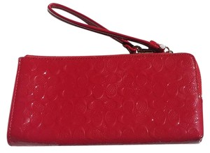 Coach COACH Embossed logo print WALLET Red Pretty!!! NWT 52452