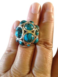Ippolita size 6.5, sterling silver, blue turquoise, constellation Ring