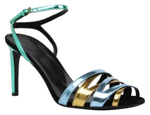 Gucci 338746 Patent Leather Multi-Color Sandals