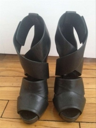 Narciso Rodriguez Leather Forest Straps metis green Platforms