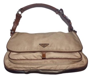 Prada High-end Bohemian Mint Vintage Layers Of Pockets Great For Travel Chrome Hardware Satchel in beige nylon & brown leather