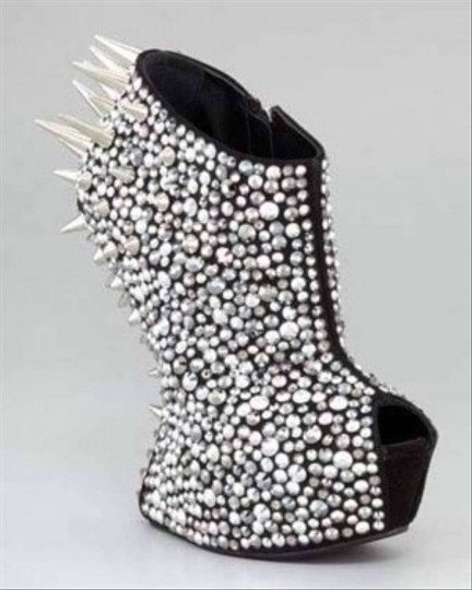 MILAN Crystal Rhinestones All Natural Sheepskin Leather BLACK & SILVER Boots