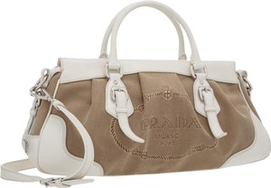 Prada Sateen Satchel in Brown and white