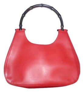 Gucci High-end Bohemian Satchel in true red leather & black bamboo handle