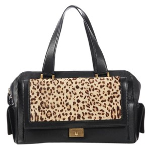 Jimmy Choo Leopard Black Pony Hair Satchel