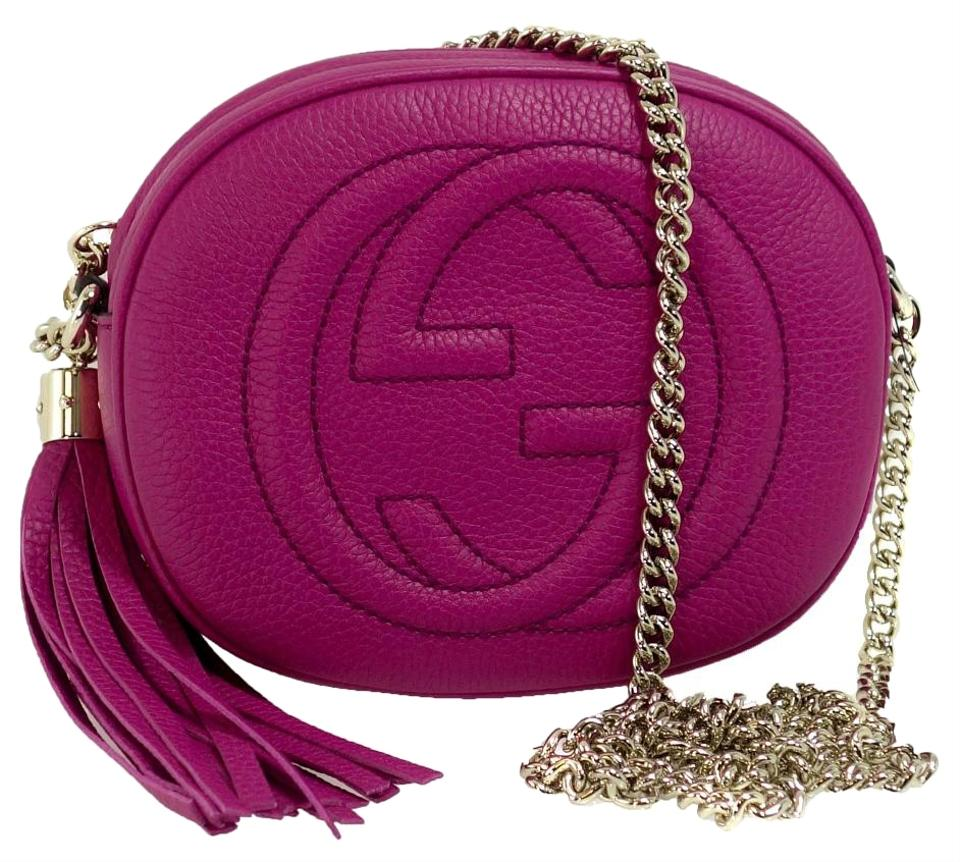 456d5ca80bb Gucci Soho Disco Mini Chain Fuchsia Leather Cross Body Bag - Tradesy