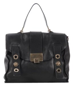 Jimmy Choo Black Pauline Leather Grommets Jc.k0628.26 Messenger Bag