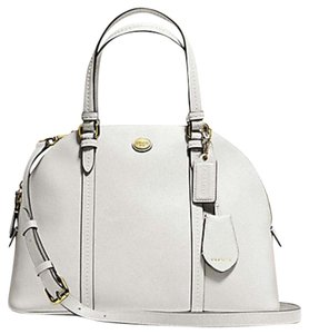 Coach Dome Leather Satchel in White