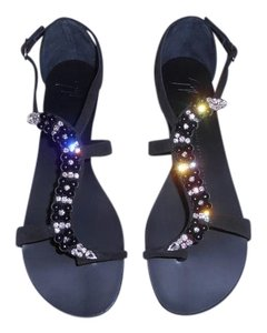 Giuseppe Zanotti Glamorous Luxurious Sparkle Black Sandals