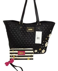 Betsey Johnson Perforated Wallet On A String Wallet Tote in black