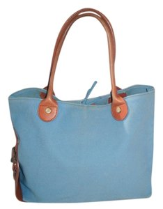 Brooks Brothers Canvas & Leather Tote in Baby Blue