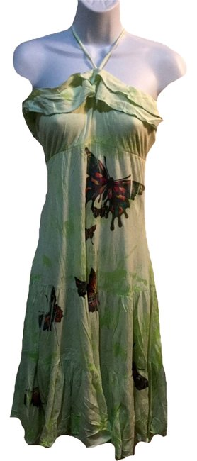 Item - Lime Summer Decorated Mid-length Short Casual Dress Size 6 (S)