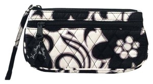 Vera Bradley Floral Cotton Quilted Wristlet in Black & White