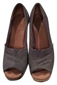 TOMS Blue grey Wedges