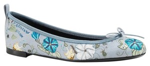 Gucci 381154 Floral Canvas Knight Print Blue Flats