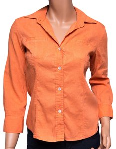 Theory Linen Petite 3/4 Sleeve Button Down Shirt Orange