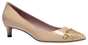 Gucci 353727 Leather Studded Low Heel Beige Pumps