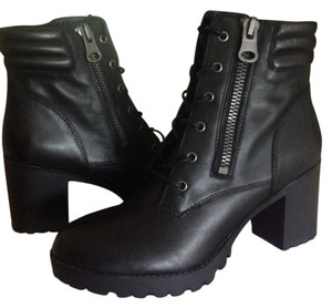 Steve Madden Leather Black Moto Boots