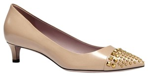 Gucci 353727 Leather Studded Beige Pumps