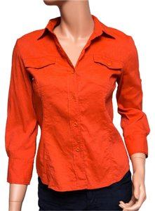 Theory Linen 3/4 Sleeve Button Down Shirt Orange