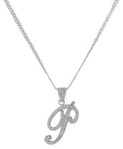 Other Letter P Cursive Initial CZ Pendant .925 Sterling Silver