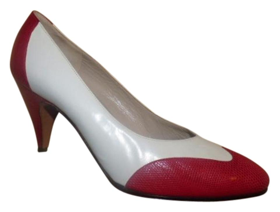 Salvatore Ferragamo Textured Red Shoes/Designer Leather and White Leather Vintage Shoes/Designer Red Pumps 8399d5