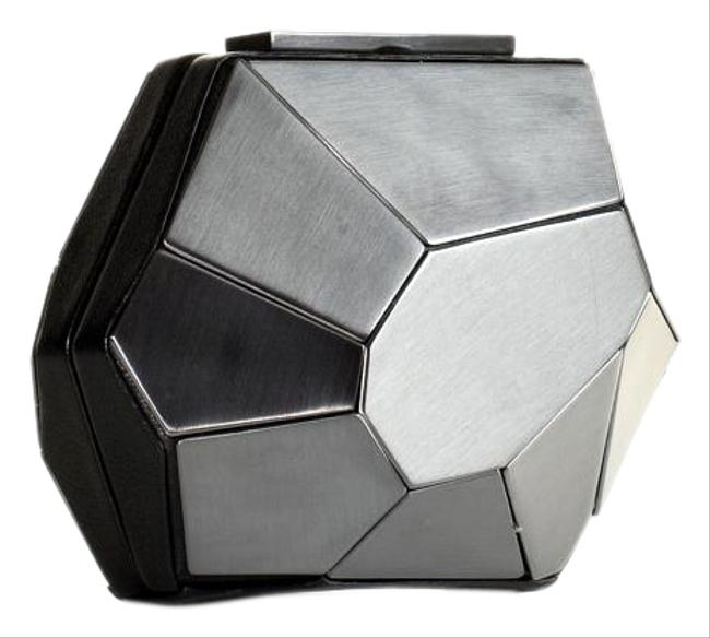 Item - Rare Multifaceted Minaudire Metallic Grey Metal and Leather Clutch