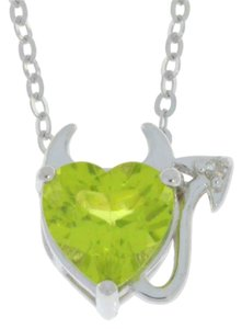 Other Peridot & Diamond Devil Heart Pendant .925 Sterling Silver