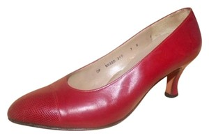 Salvatore Ferragamo Dressy Or Casual textured & smooth red leather Pumps