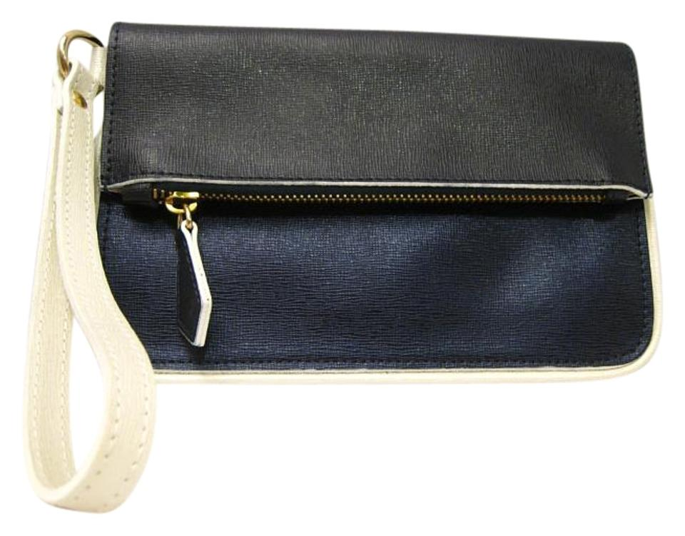 Alberta Di Canio Textured Wristlet Purse  new  Navy Leather Clutch ... ee9da7d4fe