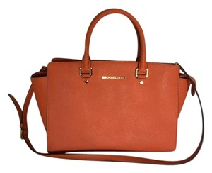 Michael Kors Saffiano Satchel in Orange
