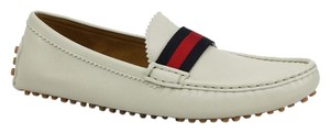 Gucci 310336 Leather Loafer Web Off White Flats