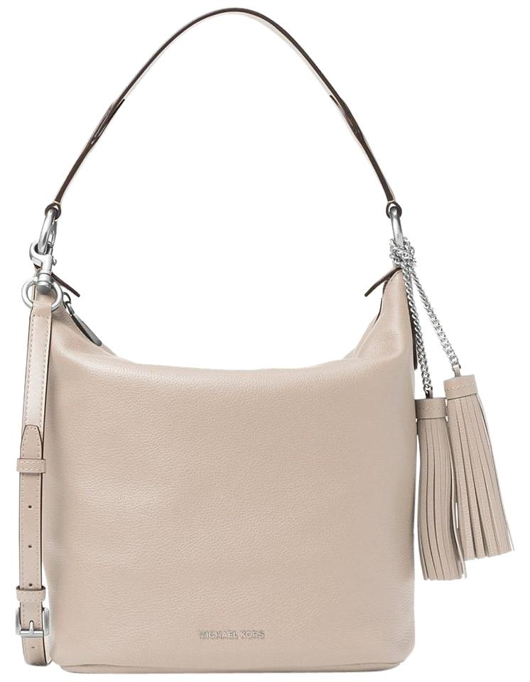 c2e717bcba6a Michael Kors Elana Large Convertible Cement /Silver Leather Shoulder ...
