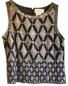 Papell Boutique Top Black With Silver Beading