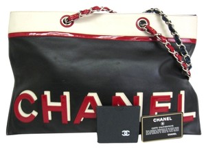 Chanel No.5 Lamb Skin Stock07990 Tote in Black/Red/Blue