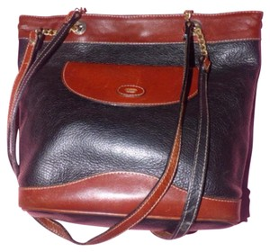 Bally Mint Vintage Satchel in black with brown leather